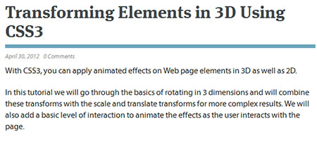 Transforming Elements in 3D Using CSS3