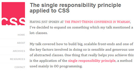 The single responsibility principle applied to CSS