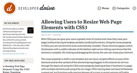 Allowing Users to Resize Web Page Elements with CSS3