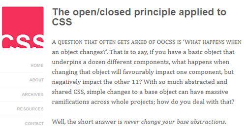 The open/closed principle applied to CSS