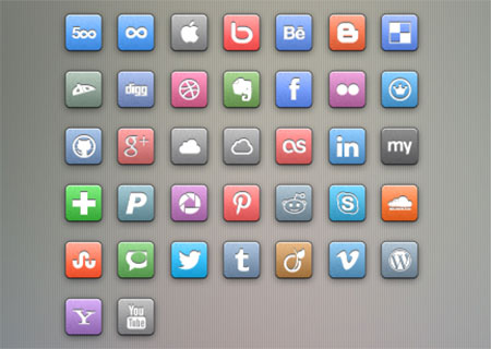 Simple Colored Social Icons