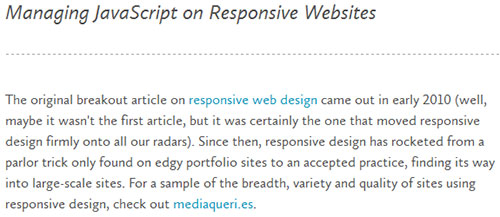 Managing JavaScript on Responsive Websites