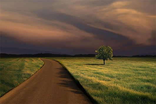 Alone on the Road at Dusk by Carlos Gotay