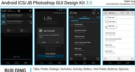 Android ICS/JB Photoshop GUI Design Kit
