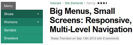 Big Menus, Small Screens: Responsive, Multi-Level Navigation