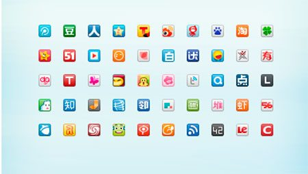 Redraw 50 Chinese Website Favicons by Ashung Hung