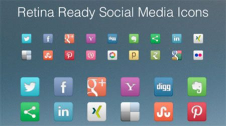 Retina Ready Social Media Icons by Xaver
