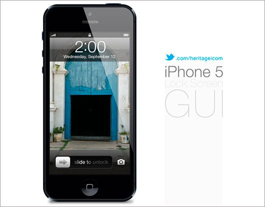 iPhone 5 Lock screen GUI psd by heritagei