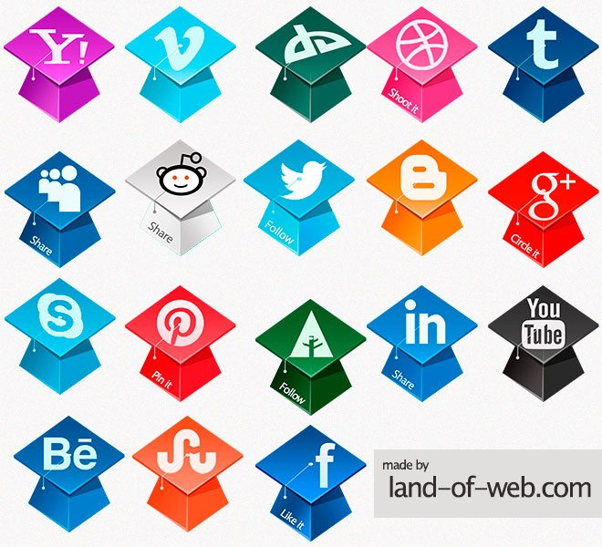 preview Graduation Hats Social Icons