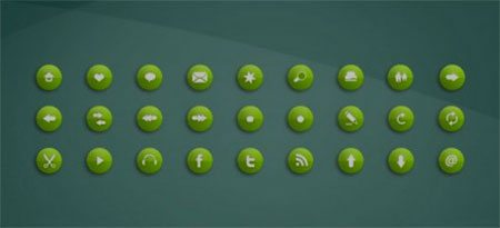 Green Rounded Icon Set