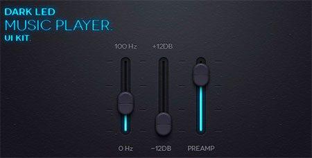 Dark Led Music App UI Kit