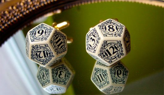d12 steampunk dice cufflinks