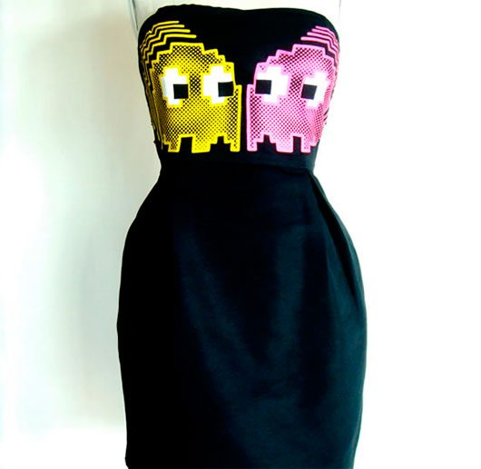 Strapless Little Black Dress with Neon Pacman Design