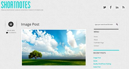 Shortnotes - also wp template for blogging
