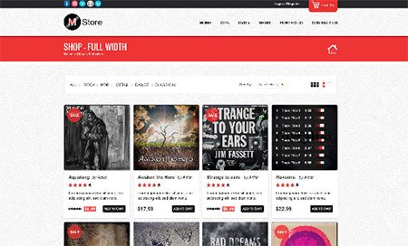 Musica - Shop Page Template