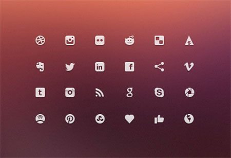 Social Glyphs - Mini Icons by Joel Siddall