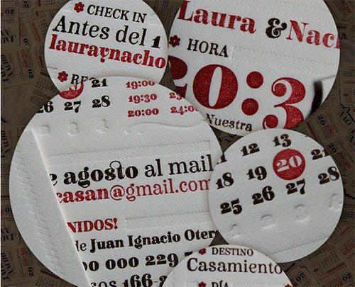 Participación de casamiento Laura y Nacho