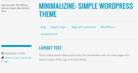 Minimalizine - minimal blog layout