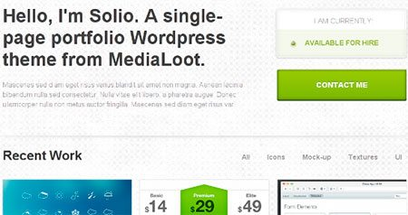 Solio - single page wordpress portfolio