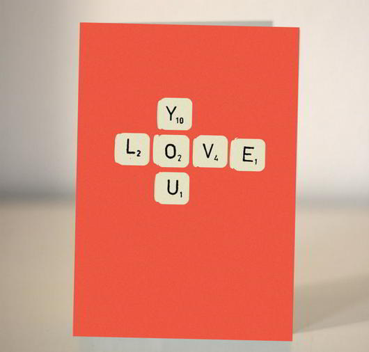 Scrabble card - I love you