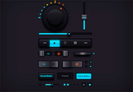 Dark Music UI Elements by GraphicsFuel (Rafi)