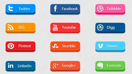 3D Free Social Media Icon Buttons