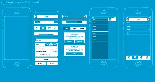 Adobe FW template for iOS 6 wireframing (blueprints) by Michael Sharanda (Rubyicon)