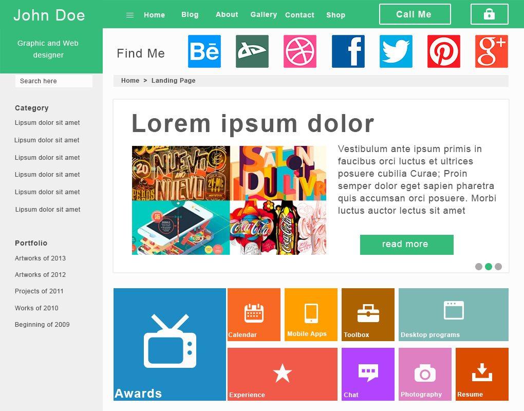 Freebie: Flat Landing Page PSD Template