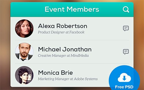 Event Members - Free PSD by Ionut Zamfir