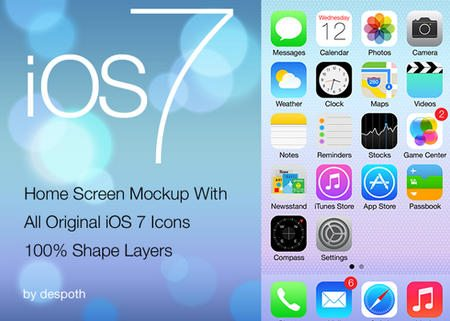 iOS 7 Home Screen With 100% Shape Layers