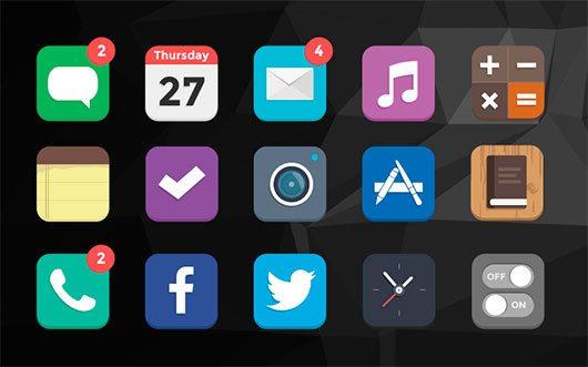 iOS7 Flat icons by mialszygrosz