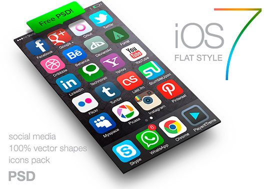 iOS 7 style icons of social media FREE PSD by despoth