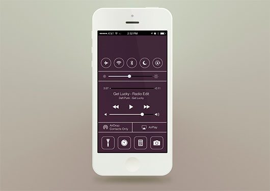 Flat iOS7 - Control Center by Andy Law