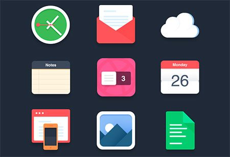 Flat icons (PSD) by Pierre Borodin