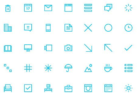 35 Thin Icons Set by Dmitri Litvinov