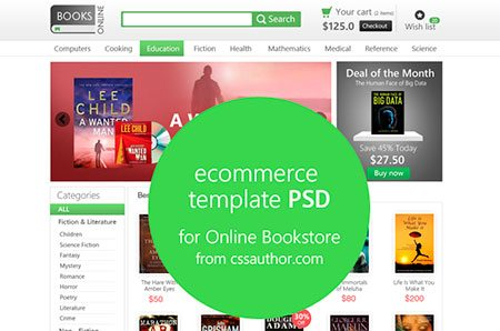E-commerce Template PSD for Online Bookstore