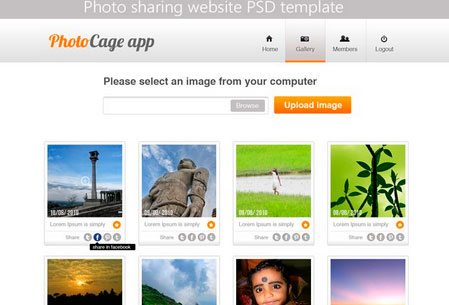Premium Photo Sharing Website PSD