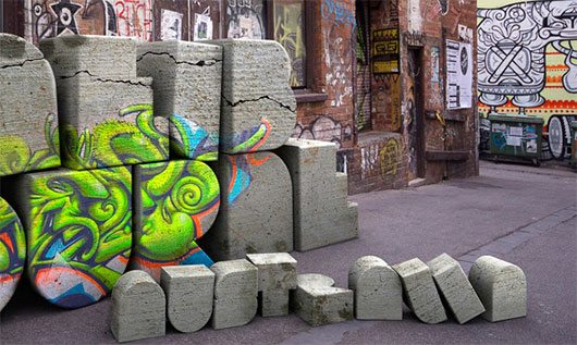 3D Type / Photography by Marcus Byrne