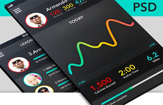 Fitness app+Leader board screen (PSD Freebie) by Tobs