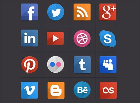 Psd Flat Social Icons by Pixeden