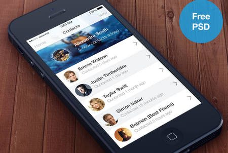 iOS7 Contacts app (Free PSD) by Alexandre Naud
