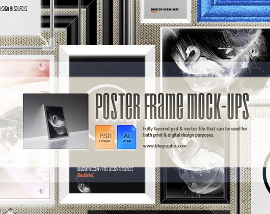 Psd / Vector Free Poster Frame Mock-ups by wassim wassim
