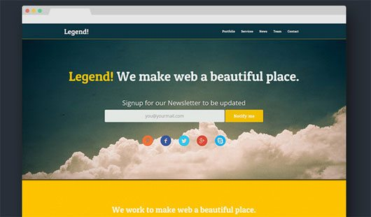 Legend: Free Responsive One Page Template