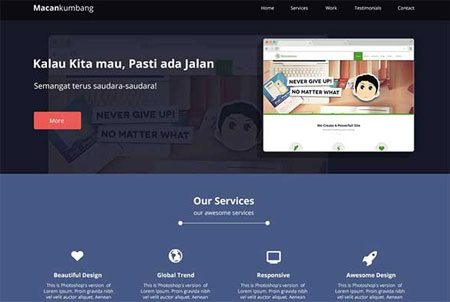 One Page Website Design: Macan Kumbang
