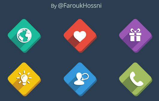 Long Shadow Icons [PSD] by Farouk Hosni