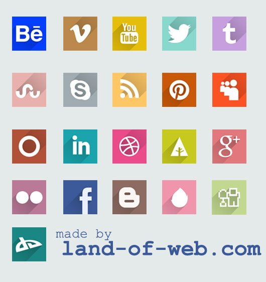 preview Freebie: Long Shadow Social Media Icons