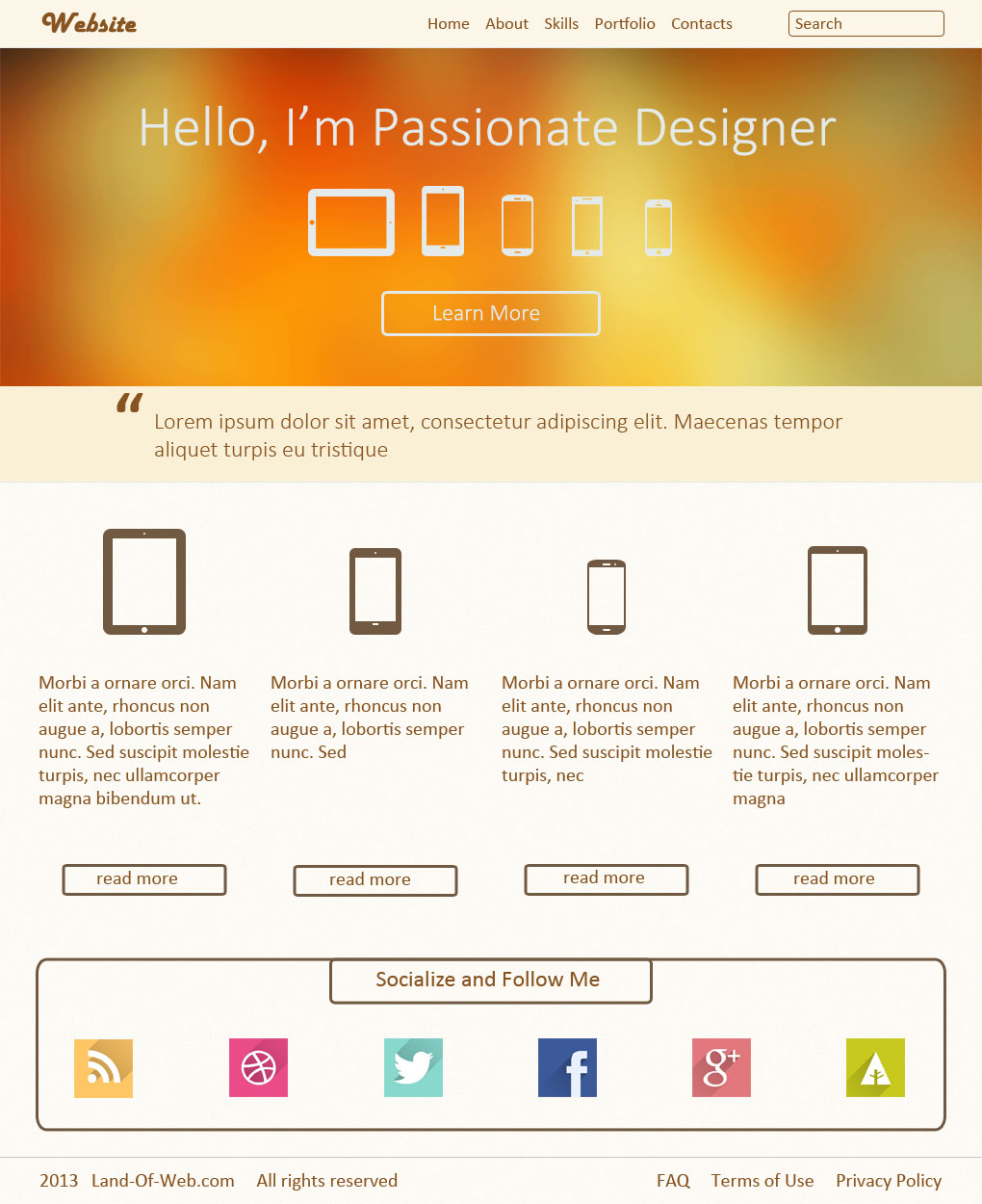 Warm Landing Page PSD actual size