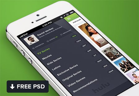 Hulu iPhone app design Free PSD by Waseem Arshad