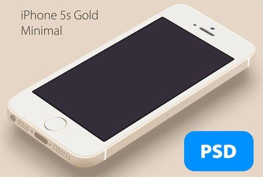 iPhone 5s Minimal Gold - Free PSD by Hüseyin Yilmaz