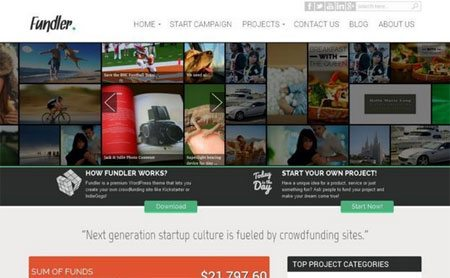 Fundler Free Responsive Crowdfunding WordPress Theme